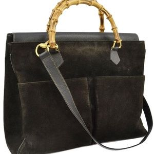 Gucci Large Black Suede Bamboo Tote 870576